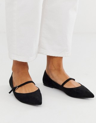 Asos Design DESIGN Lucas mary jane ballet flats in black