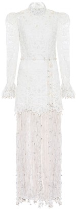 Zimmermann Wavelength embroidered silk gown