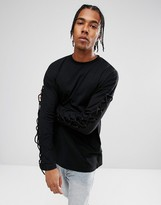 Asos Oversized Long Sleeve T-Shirt In Black With Lace Up Sleeves