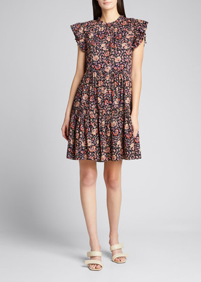 Ulla Johnson Hana Floral Short-Sleeve Dress