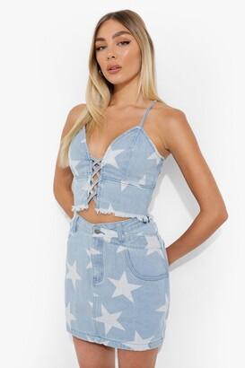 boohoo Star Print Wrap Waistband Denim Mini Skirt