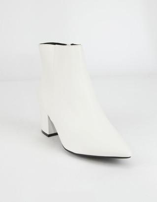 Bamboo Block Heel White Womens Booties