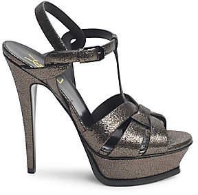 Saint Laurent Women's Tribute 105 Metallic Leather Platform Sandals