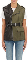 Each X Other Women's Leather & Canvas Asymmetric Belted Vest-BLACK, DARK GREEN