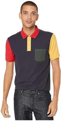 Original Penguin Short Sleeve Color Block Polo (Dark Sapphire) Men's Clothing