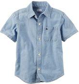 Carter's Boys 4-8 Short Sleeve Button-Down Chambray Woven Shirt