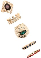 Forever 21 FOREVER 21+ Faux Gem Lion Ring Set