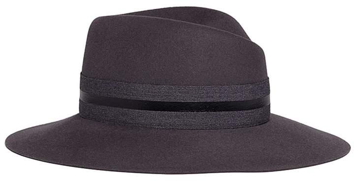 Maison Michel 'Virginie' stripe band rabbit furfelt fedora hat