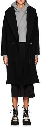 Yohji Yamamoto Women's Wool Melton Double-Breasted Zip Coat - Black