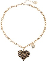 GUESS Gone Wild Animal Print Heart Necklace