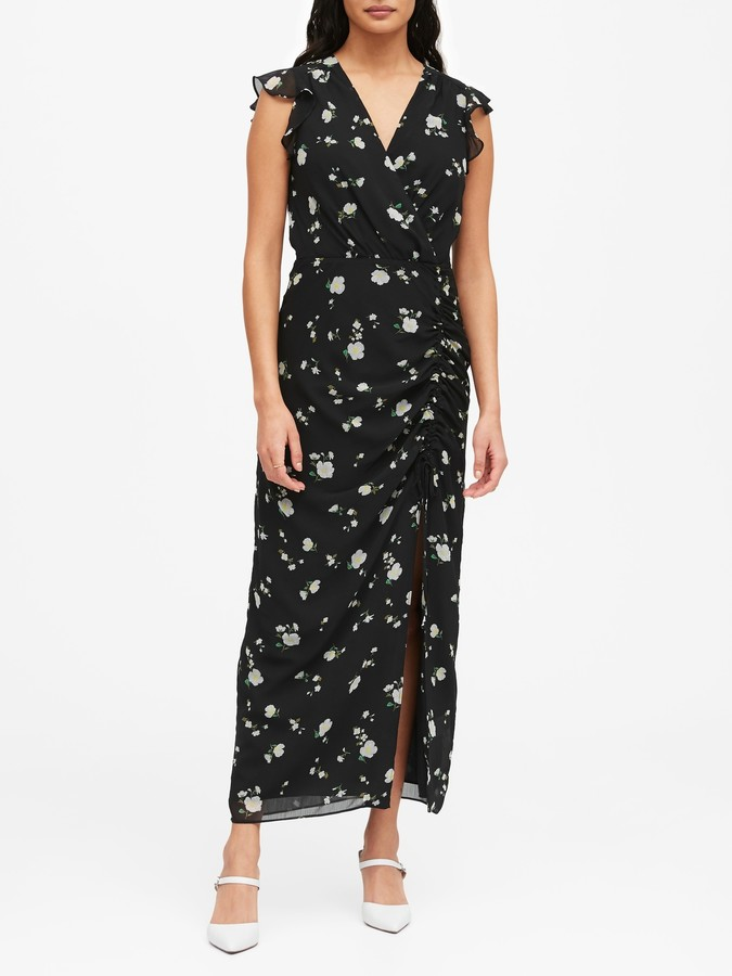 Banana Republic Print Ruched Maxi Dress