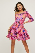 Little Mistress Lexus Pink Floral-Print One-Shoulder Mini Dress