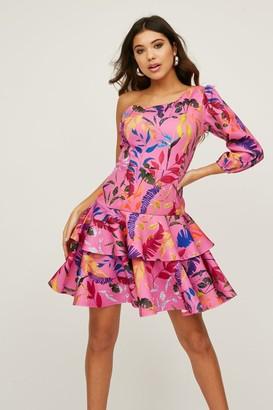 Little Mistress Lexus Pink Floral-Print One-Shoulder Mini Dress