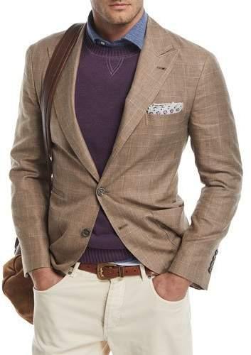 Brunello Cucinelli Glen Plaid Wool-Linen Sport Coat, Medium Brown