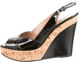 Alaia Patent Leather Peep-Toe Wedges