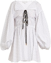 Caroline Constas Olympia lace-up flocked cotton dress