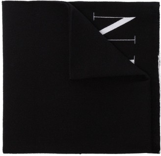 Valentino Reversible Logo Intarsia Wool And Silk-Blend Scarf
