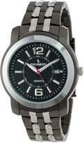 Peugeot Men's 1019s Silver and Black Tone Bracelet Watch
