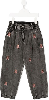 MonnaLisa Embroidered Teddy Bear Jeans