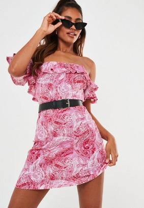 Missguided Pink Paisley Bardot Frill Skater Dress