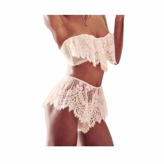 HOOUDO Lingerie Women Underwear Babydoll Sleepwear Lace Bra Dress G-String Set Sleepwear Strap Nightdress Erotic Underwear White