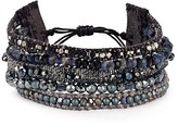 Chan Luu Beaded Crystal & Leather Bracelet