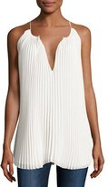 Elizabeth and James Nina Pleated Chiffon Tie-Front Top, Ivory