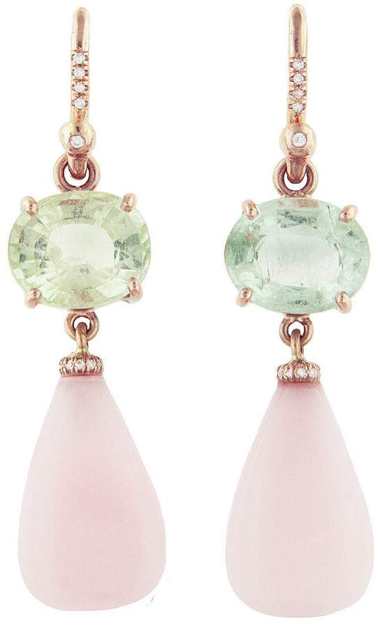 Irene Neuwirth Tourmaline and Pink Opal Earrings - Rose Gold