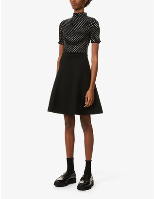 Sandro Valeni flared-skirt stretch-knit mini dress