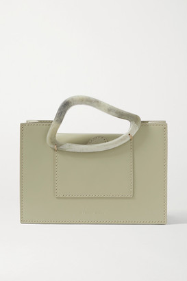 NATURAE SACRA + Net Sustain Arp Mini Leather And Resin Tote - Army green