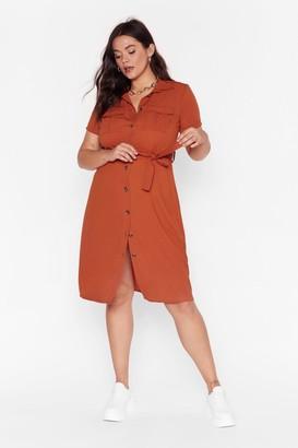 Nasty Gal Womens V-Neckline Plus Size Midi Dress - Orange