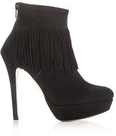 Charles David Lula Fringe High Heel Platform Booties
