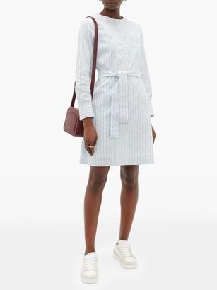A.P.C. Cyrielle Striped Cotton-poplin Shirtdress - Womens - Light Blue