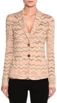 Missoni Zigzag Two-Button Blazer, Neutral Pattern