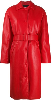 MSGM Faux-Leather Belted Coat