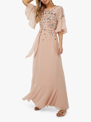 Monsoon Augustina Embellished Kaftan Dress, Blush