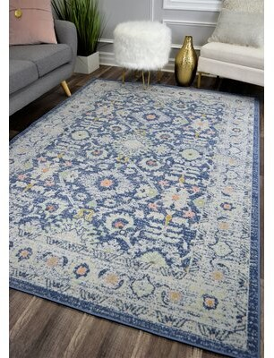 Bungalow Rose Reva Transitional Blue/Gray Indoor/Outdoor Area Rug Rug Size: Rectangle 5' x 7'