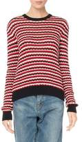 Saint Laurent Crewneck Long-Sleeve Stripe Crochet Cotton Sweater