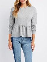 Charlotte Russe Peplum Pullover Sweatshirt