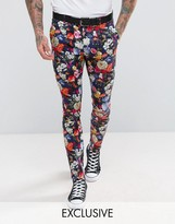 Reclaimed Vintage Inspired Skinny Floral Trousers