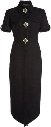 David Koma Embellished Wool-Boucle Shirt Dress