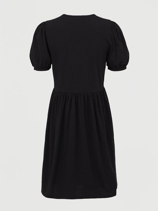 Very Jersey Puff Sleeve Peplum Mini Dress - Black