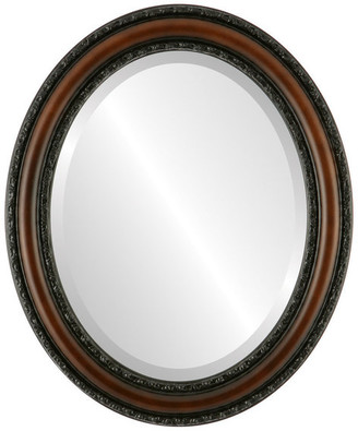 """The Oval And Round Mirror Store Dorset Framed Oval Mirror in Walnut, 27""""x33"""""""