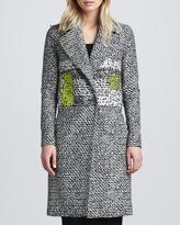 Diane von Furstenberg Nala Colorblock Tweed Coat