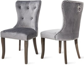 Rosdorf Park Patrie Tufted Upholstered Wingback Parsons Chair Upholstery Color: Gray
