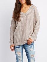 Charlotte Russe Shaker Stitch V-Neck Pullover Sweater