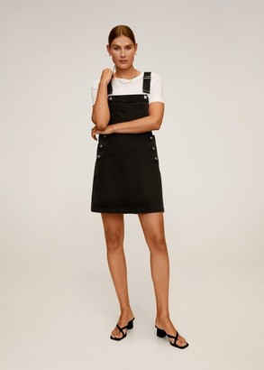 MANGO Black denim pinafore dress