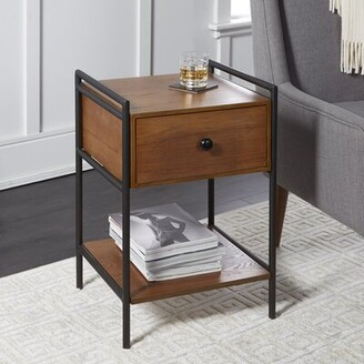Foundry Select Jordy Farmhouse Industrial Bedside 1 Drawer Nightstand