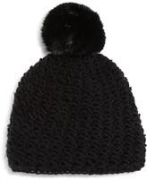 Surell Girls' Star-Knit Beanie with Fur Pom-Pom