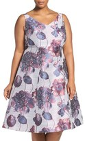 Adrianna Papell Beaded Floral Fit & Flare Dress (Plus Size)